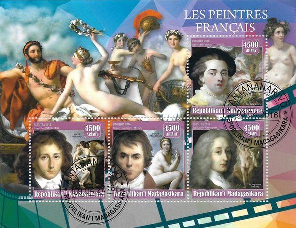 Super timbre colita stampilata Madagascar, pictura, pictori francezi