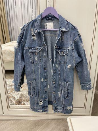 Zara джинсовая удлиненная куртка