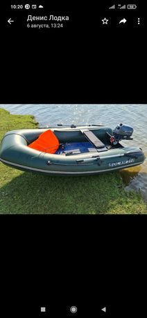 Лодка  килевая с мотором