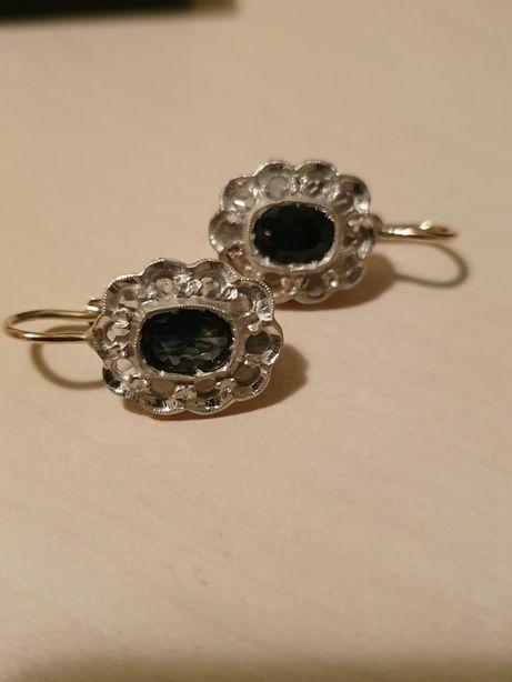Cercei anturaj aur 14k cu safir natural fatetat si diamante naturale