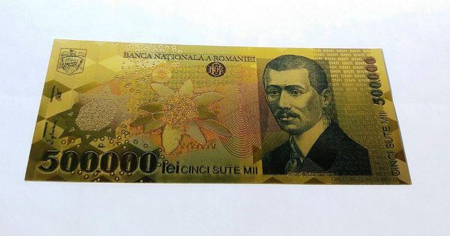 Bancnota 500000 Lei 2000 Ghizari aur 24k colectie 500 000 certificat