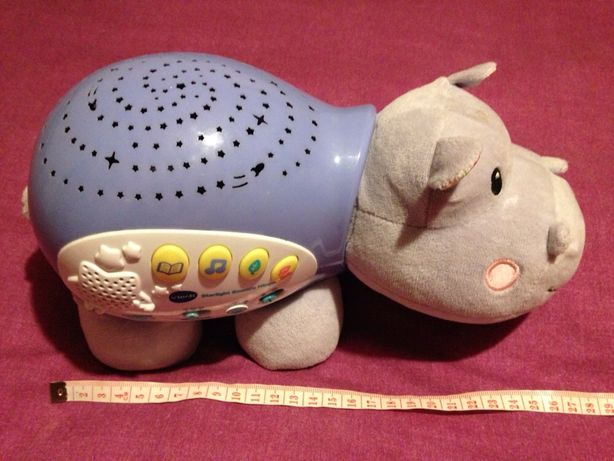 hipopotam de plus proiector de lumin colorate si sunete in engleza