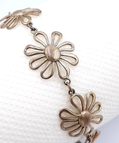 Superba bratara vintage din argint model delicat flori