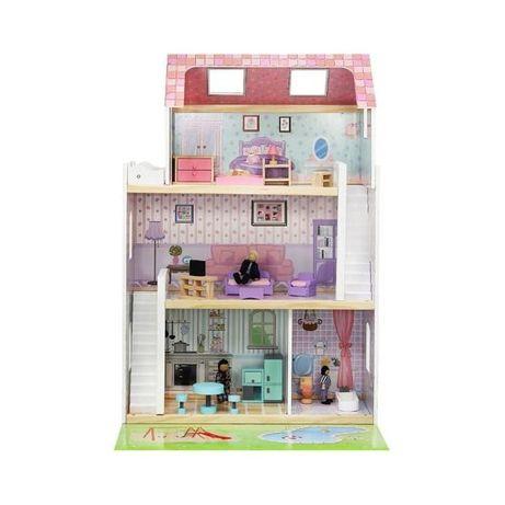 Casa papusi din lemn cu 3 etaje si 24 accesorii incluse Iso Trade