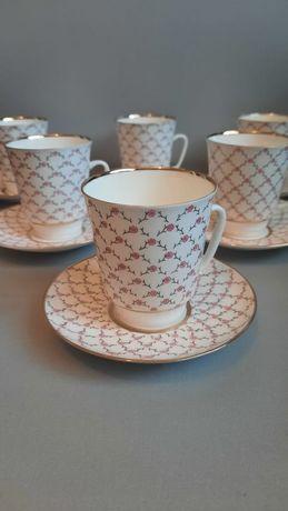 """Чашки кофейные фарфоровые с блюдцами ЛФЗ """"Цветочная сетка""""."""