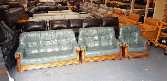 Кожени дивани - тройка, двойка и стол-естествена кожа-петролен цвят