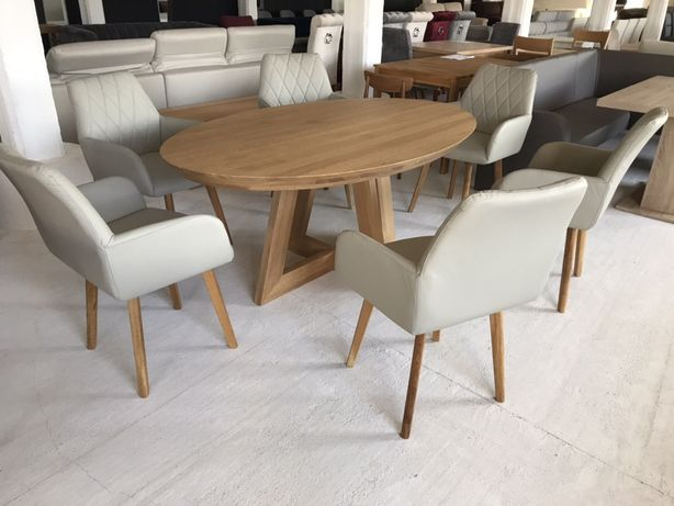 Masa lemn masiv + 6 scaune piele