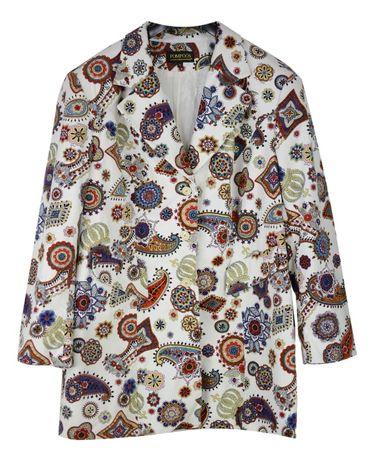 Sacou / Palton Dama Pompoos marimea XXXL -4XL Alb Multicolor TT3