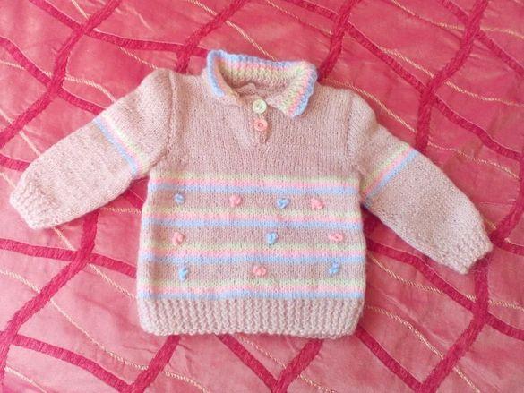 Детска блузка - 1 - 2 м., ръчно плетиво