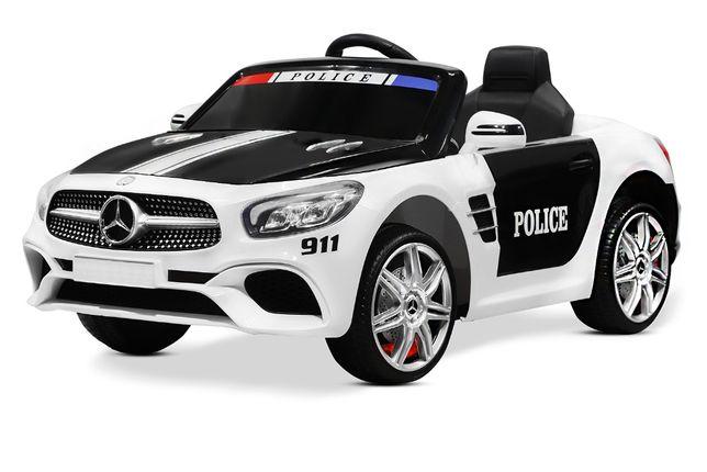 Masinuta electrica de politie Mercedes SL500 90W STANDARD #Alb