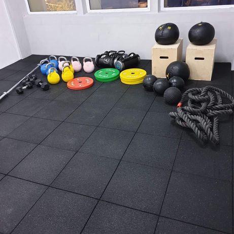Pardoseala sala Fitness, dale de cauciuc, pavele covor sala culturism