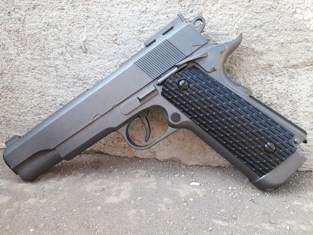 Pistol AIRSOFT Full Metal 4.5j upgradat Colt 1911+CADOU CO2 bile cutie