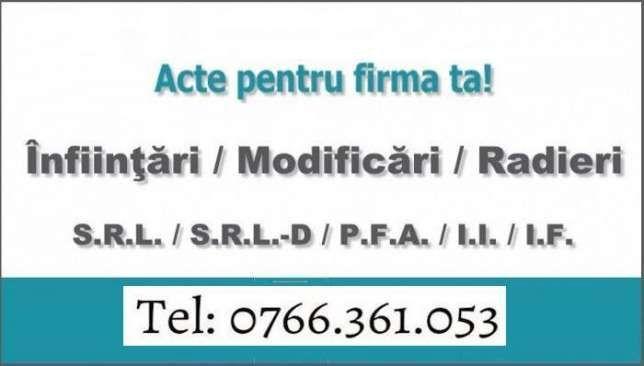 Infiintari / Modificari / Radieri Firme ( SRL, PFA, II) - RAPID!
