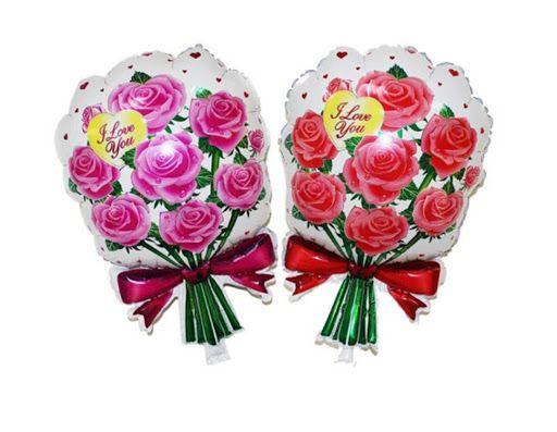 Baloane folie aluminiu Buchet de trandafiri roz sau rosii 10 lei