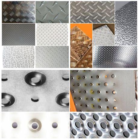 Tabla striata antiderapanta perforata aluminiu Quintet Diamond Stucco