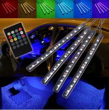 Kit Complet interior LED 4 x Benzi 12 SMD RGB 22cm Telecomanda +Senzor