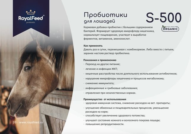 RoyalFeed S-500, пробиотики для лошадей - 0,5 кг.
