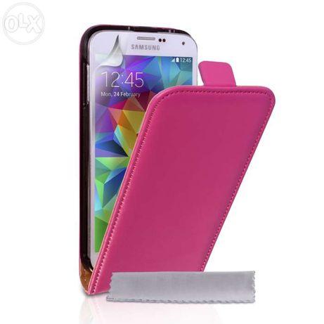 Husa Eleganta TOC PIELE FLIP ROZ Samsung Galaxy S5 G900 + Folie