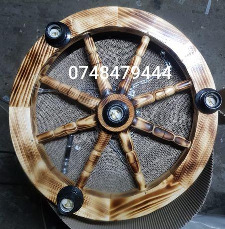 Candelabru / Lustra din lemn , Roata de car