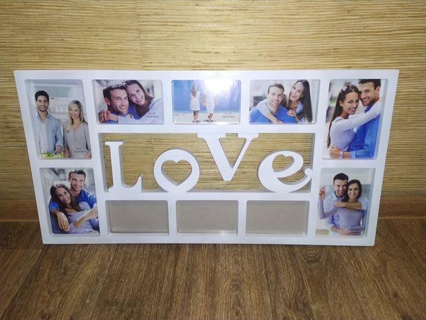 Большая мультирамка на 10 фотографий «LOVE» (Любовь)
