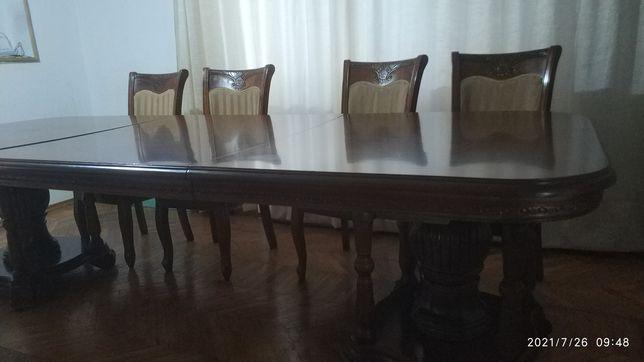 Стол обеденный, большой со стульями!