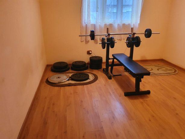 Set 150kg discuri gantere haltera banca multifuncțională acasă sala