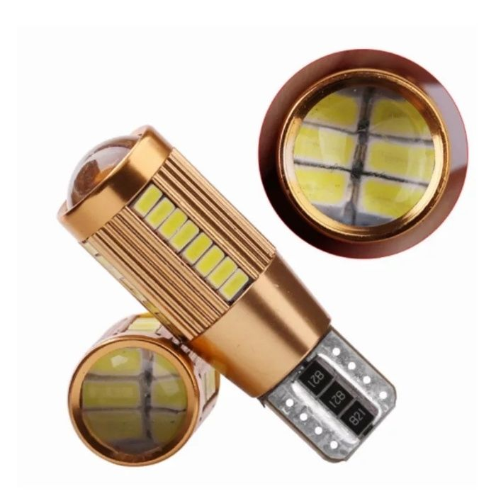 Bec led T10 w5w canbus, alb pur 6000k led 3014 model Gold Edition 2021