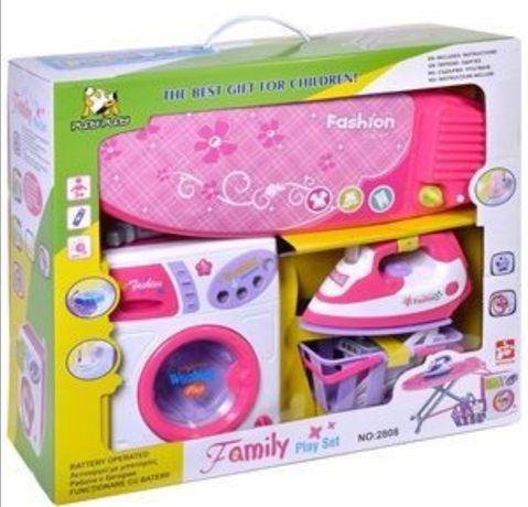 Детска пералня дъска за гладене и кош за пране Детски играчки