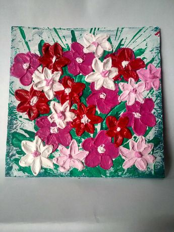 Яркие объемные цветы в букете флористика ручная работа картина