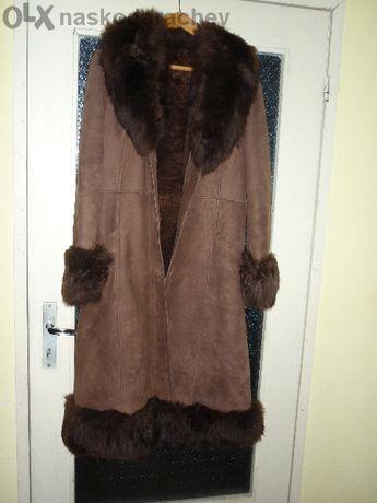 Дълъг дамски кожен кожух (палто)