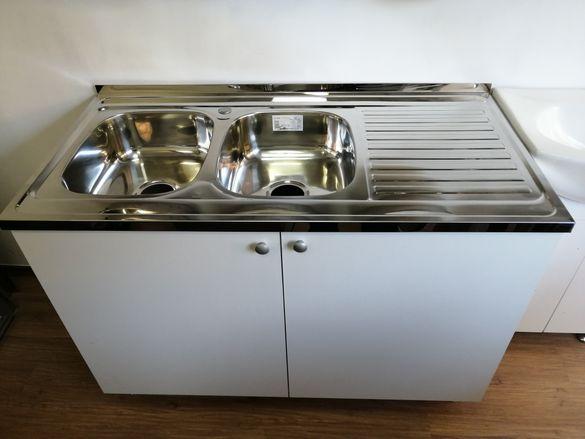 Кухненски шкаф с мивка бордова с две корита двукоритна 120/60 за кухня