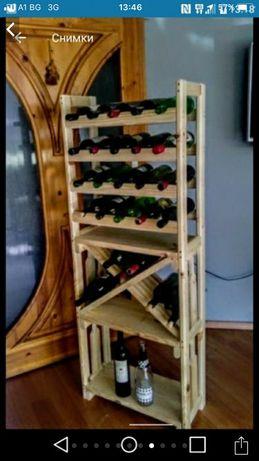 Стелаж за вино  от масивно дърво