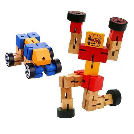 Robot din lemn Transformers-diverse culori .