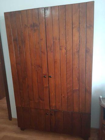 Biblioteca vintage cu 2 usi din lemn masiv lucrata manual