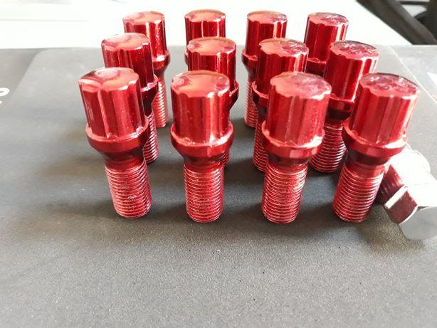 10 ron bucata prezoane roata auto culoare rosie M12X1.5 sau 14x1,5