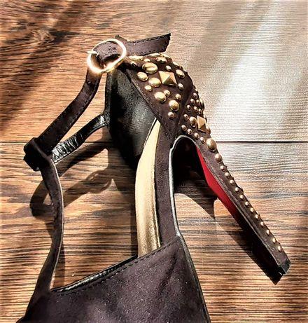 pantofi negrii cu tinte, toc 13 cm, ocazii, nunti, club, botez, party
