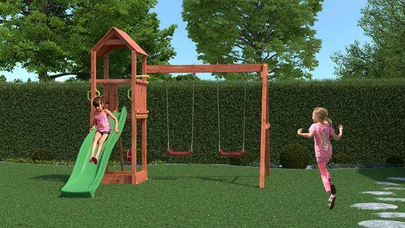 Разпродажба! Fungoo FLAPPI дървена детска площадка с пързалка и 2 люлк