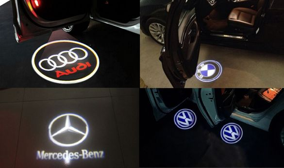 Audi,VW,BMW,Mercedes LED лого за врати директен монтаж без пробиване