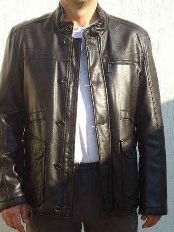 Мъжко тъмно-кафяво кожено яке - размер/номер 52