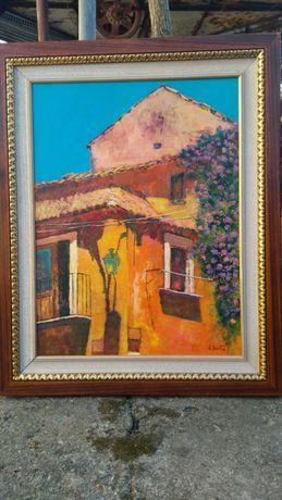 """""""Scorcio di case"""",E.Bertin,tablou superb,100/80cm,cu ramă aurită, u/p"""
