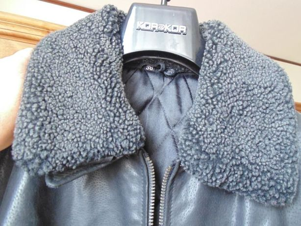 jacheta din piele neagra, de dama, cu guler din blanitza