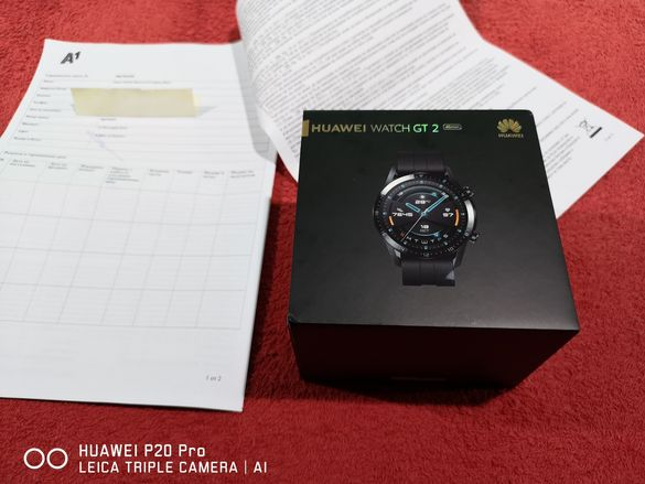 Huawei Watch GT 2 46 мм Black Чисто нов 24м.гаранция от А1 Смарт Часов