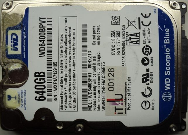 "Hard Disk-HDD Sata 2,5"" HDD-640 Gb WDC WD 6400BPVT-80HXZT3 Refurbished"