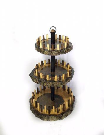 Fructieră din lemn de nuc, cu 3 etaje