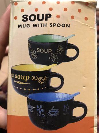 Продам керамические супницы с ложками