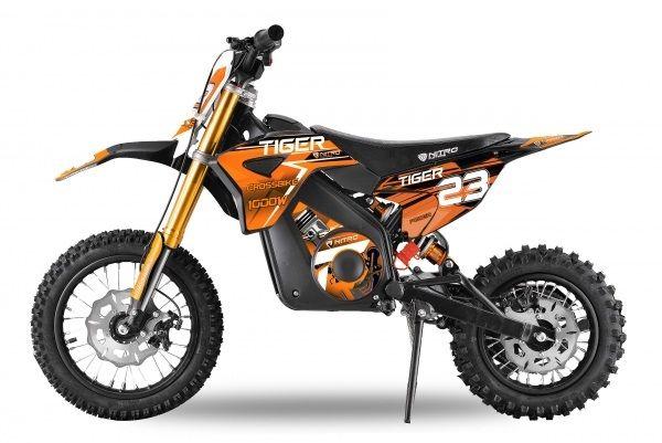 Motocicleta electrica Eco Tiger 1300W 14/12 48V 14Ah Lithiu #Orange