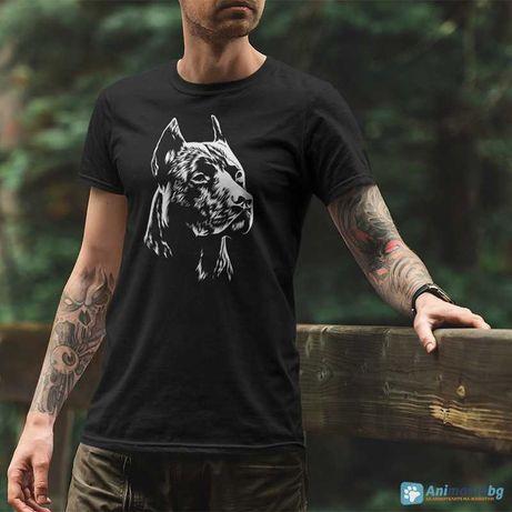 Черна тениска с бяла щампа на куче - Глава на Питбул - v.518