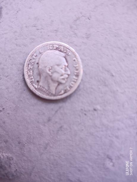 Moneda argint 50 para 1915 Serbia varianta rara