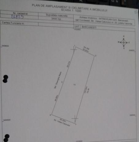 Vând teren intravilan 3444 m² Sat Condeești, Com Bărcănești, Jud. IL