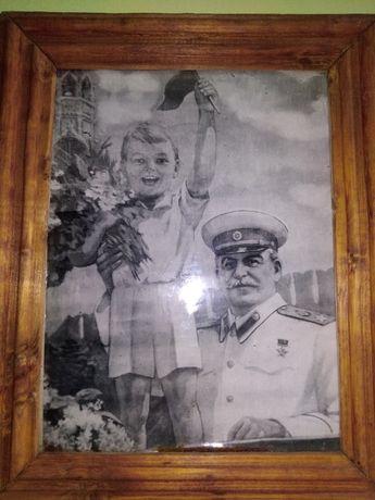 Снимка на рисуван портрет на генералисимус Йосиф Висарионович Сталин